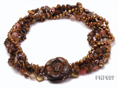 Multi-strand 6-7mm Coffee Freshwater Pearl,Tiger-eye,and Cherry Quartz Necklace FNF607 Image 1