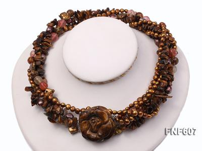 Multi-strand 6-7mm Coffee Freshwater Pearl,Tiger-eye,and Cherry Quartz Necklace FNF607 Image 3