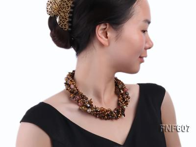 Multi-strand 6-7mm Coffee Freshwater Pearl,Tiger-eye,and Cherry Quartz Necklace FNF607 Image 4