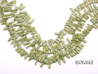 Wholesale High-quality 5x15mm Apple Green Biwa-shaped Cultured Freshwater Pearl String BCW063