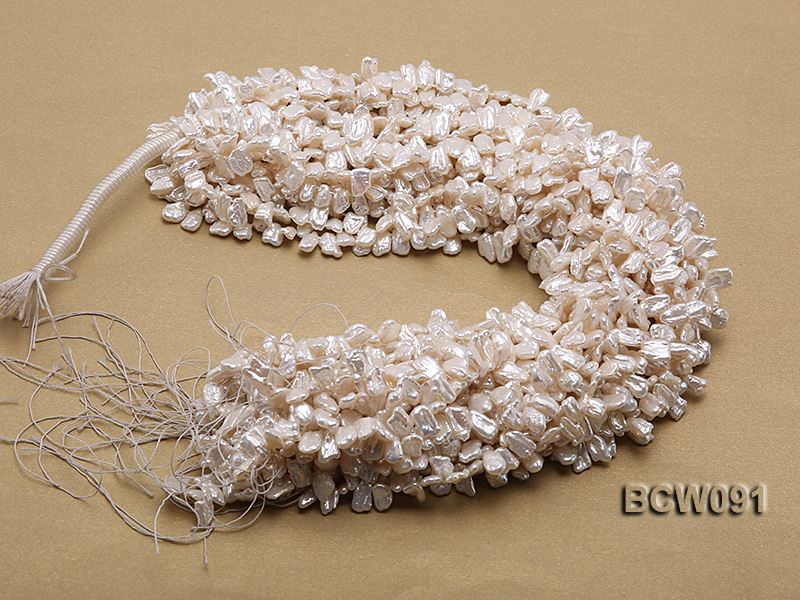 Wholesale 7X12mm Classic White Biwa-shaped Cultured Freshwater Pearl String big Image 3
