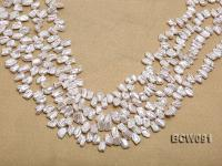 Wholesale 7X12mm Classic White Biwa-shaped Cultured Freshwater Pearl String BCW091