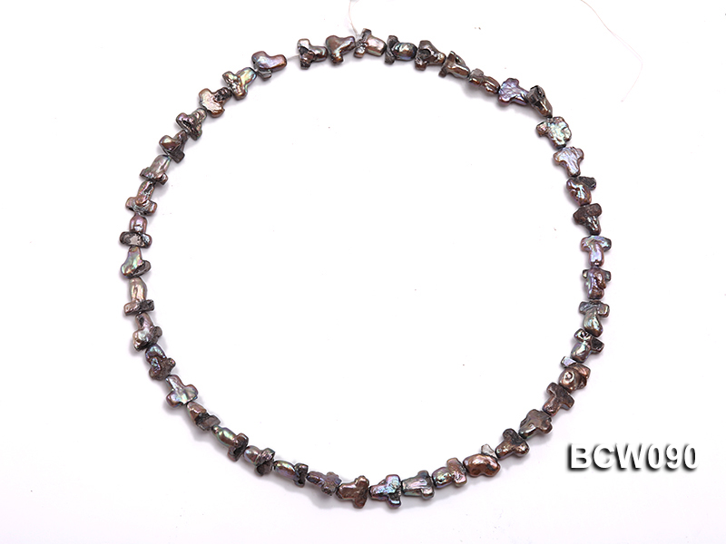 Wholesale 9x17mm Black Cross-shaped Cultured Freshwater Pearl String big Image 3