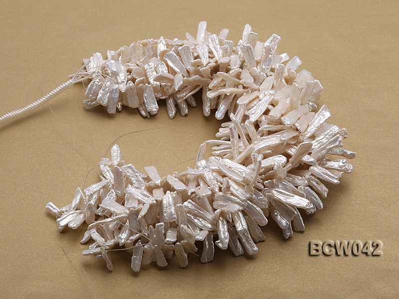 Wholesale 9x30mm Classic White Biwa-shaped Cultured Freshwater Pearl String big Image 3