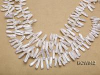 Wholesale 9x30mm Classic White Biwa-shaped Cultured Freshwater Pearl String BCW042