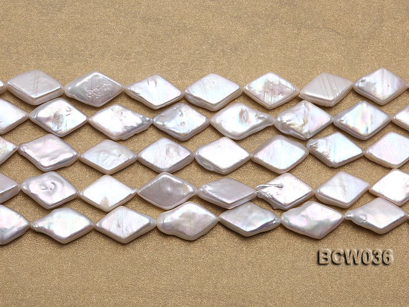 Wholesale 11x21mm White Rhombic Freshwater Pearl String big Image 2