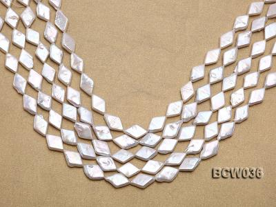 Wholesale 11x21mm White Rhombic Freshwater Pearl String BCW036 Image 1