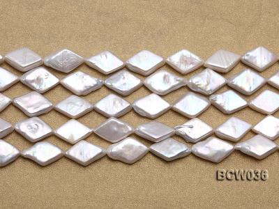 Wholesale 11x21mm White Rhombic Freshwater Pearl String BCW036 Image 2
