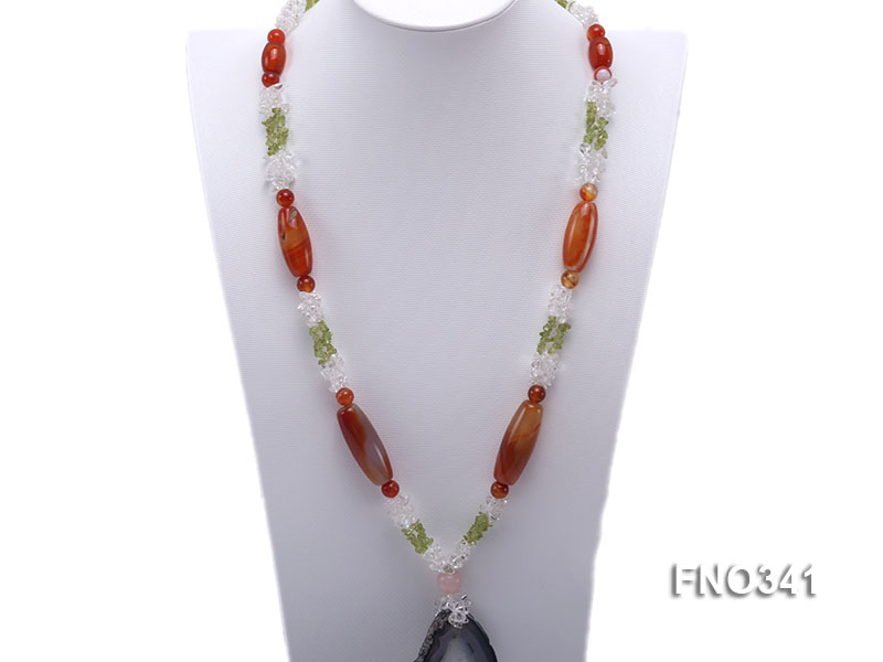 5x7mm white crystal and red agate necklace big Image 1