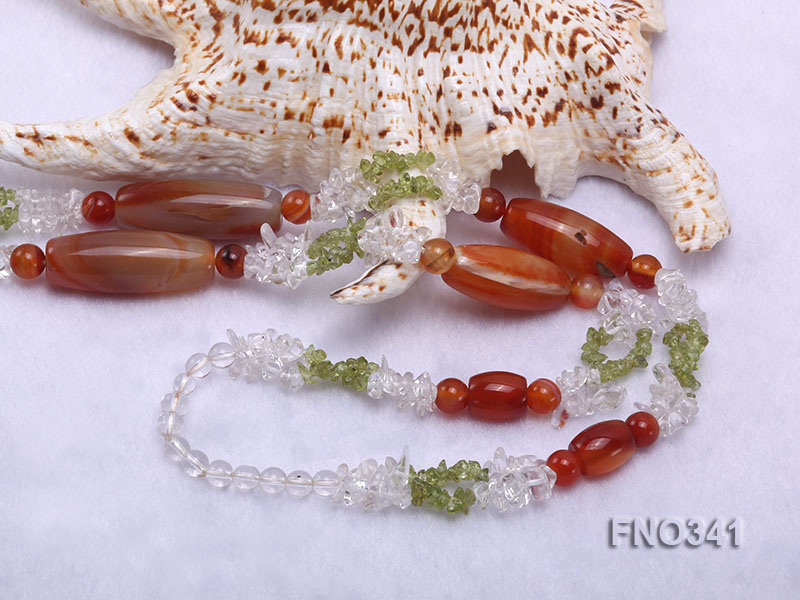 5x7mm white crystal and red agate necklace big Image 5