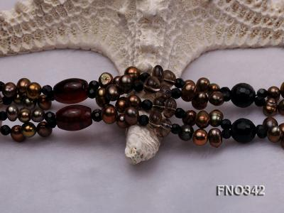 6x8mm brown oval freshwater and red and black agate opera necklace FNO342 Image 5