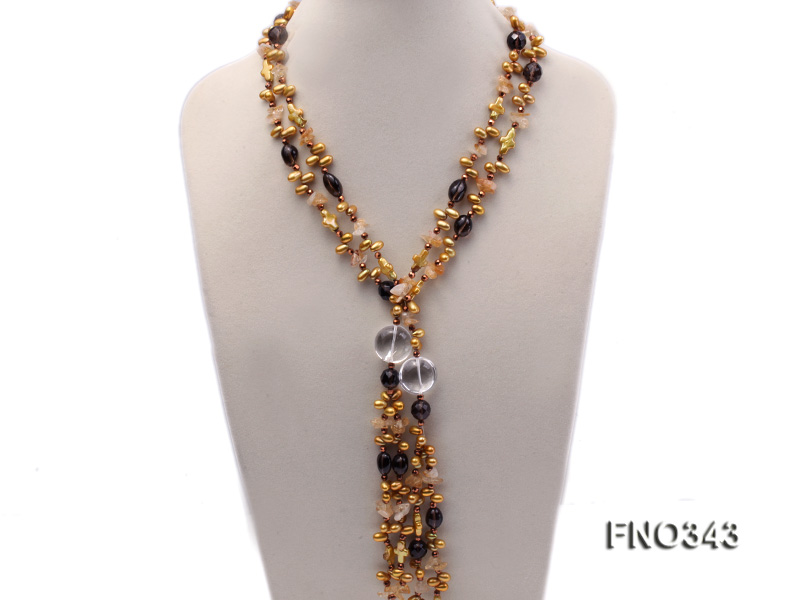 5x9mm yellow rice shape freshwater pearl  and yellow irregular crystal smoky crystal necklace big Image 1