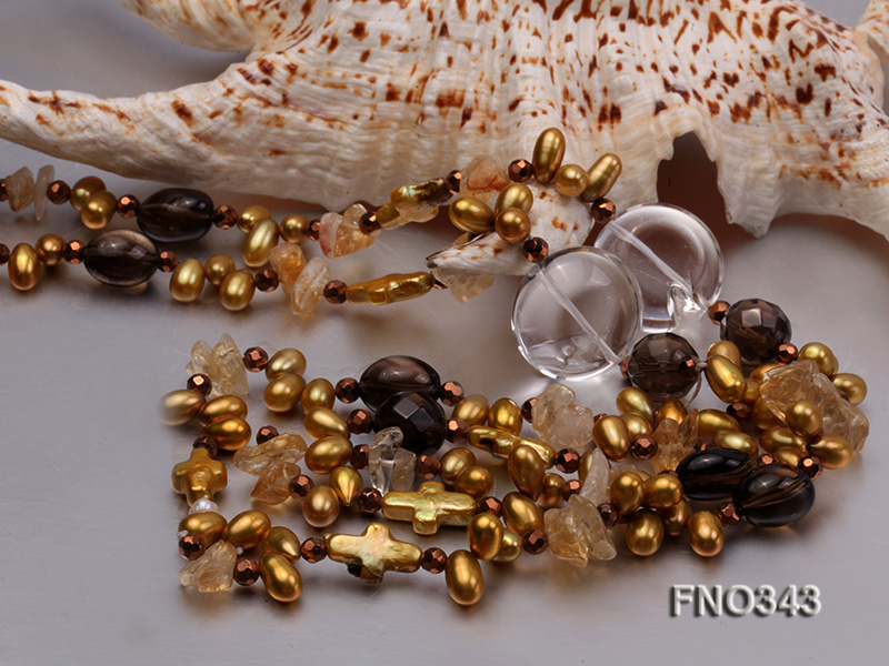 5x9mm yellow rice shape freshwater pearl  and yellow irregular crystal smoky crystal necklace big Image 5