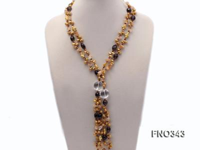 5x9mm yellow rice shape freshwater pearl  and yellow irregular crystal smoky crystal necklace FNO343 Image 1