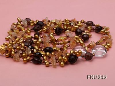 5x9mm yellow rice shape freshwater pearl  and yellow irregular crystal smoky crystal necklace FNO343 Image 3