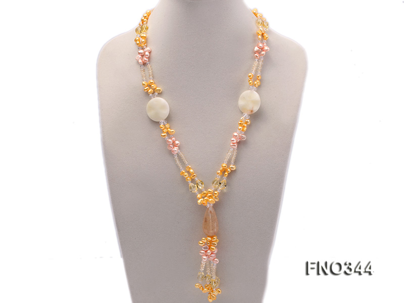 7x10mm pink and yellow oval freshwater pearl and yellow crystal  and jadestone necklace big Image 1