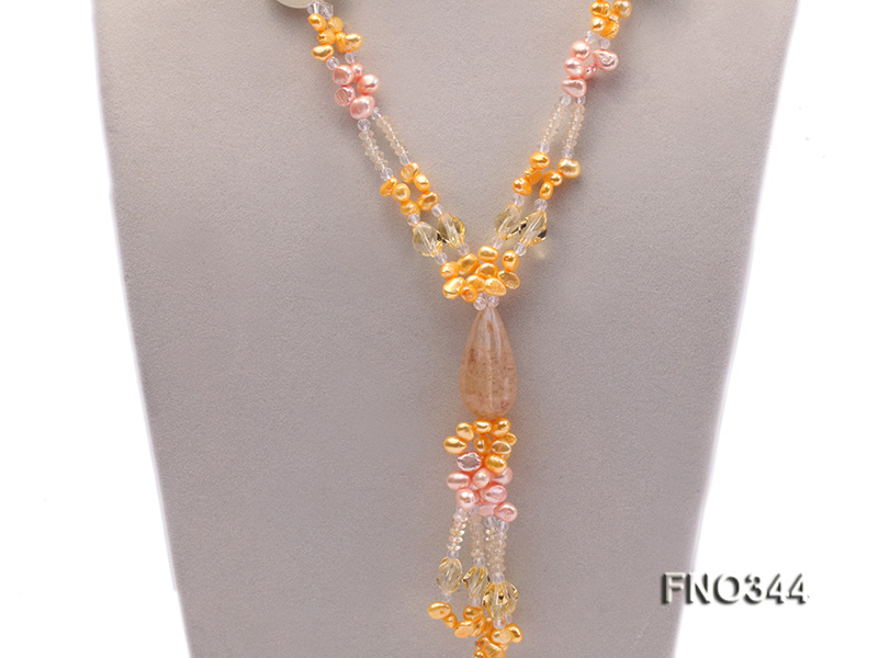 7x10mm pink and yellow oval freshwater pearl and yellow crystal  and jadestone necklace big Image 2