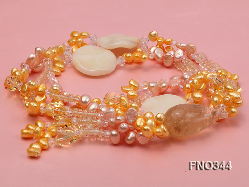 7x10mm pink and yellow oval freshwater pearl and yellow crystal  and jadestone necklace big Image 3