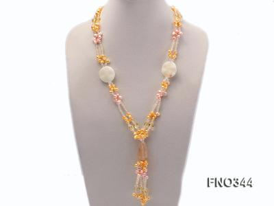 7x10mm pink and yellow oval freshwater pearl and yellow crystal  and jadestone necklace FNO344 Image 1