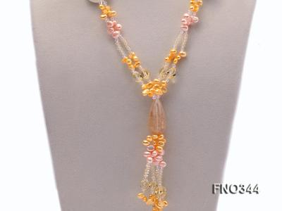 7x10mm pink and yellow oval freshwater pearl and yellow crystal  and jadestone necklace FNO344 Image 2