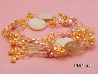 7x10mm pink and yellow oval freshwater pearl and yellow crystal  and jadestone necklace FNO344 Image 3