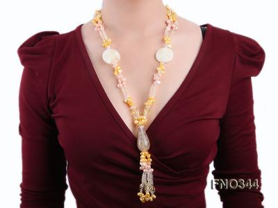 7x10mm pink and yellow oval freshwater pearl and yellow crystal  and jadestone necklace FNO344 Image 6