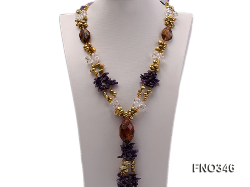 7x10mm yellow flat freshwater pearl and amethyst and crystal chips necklace big Image 1