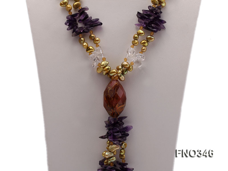 7x10mm yellow flat freshwater pearl and amethyst and crystal chips necklace big Image 2