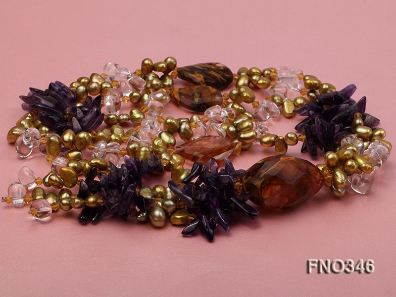 7x10mm yellow flat freshwater pearl and amethyst and crystal chips necklace big Image 3