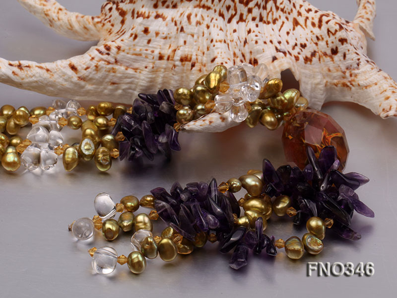 7x10mm yellow flat freshwater pearl and amethyst and crystal chips necklace big Image 5