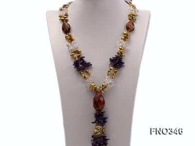 7x10mm yellow flat freshwater pearl and amethyst and crystal chips necklace FNO346 Image 1
