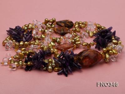 7x10mm yellow flat freshwater pearl and amethyst and crystal chips necklace FNO346 Image 3