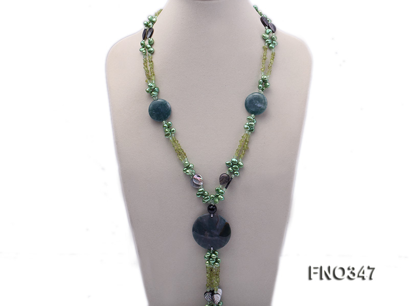 7x10mm coffee flat freshwater pearl and olivine  and shell and agate necklace big Image 1