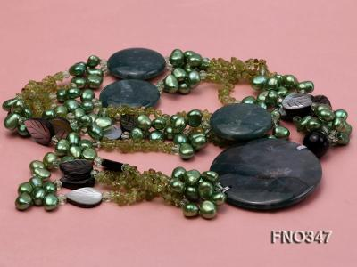 7x10mm coffee flat freshwater pearl and olivine  and shell and agate necklace FNO347 Image 3