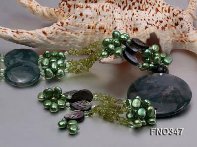 7x10mm coffee flat freshwater pearl and olivine  and shell and agate necklace FNO347 Image 4
