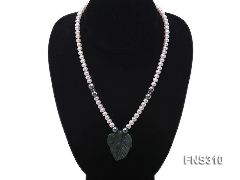 6-7mm natural white round freshwater pearl with breciated jasper stone single strand necklace big Image 5