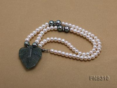 6-7mm natural white round freshwater pearl with breciated jasper stone single strand necklace FNS310 Image 3