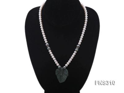 6-7mm natural white round freshwater pearl with breciated jasper stone single strand necklace FNS310 Image 5