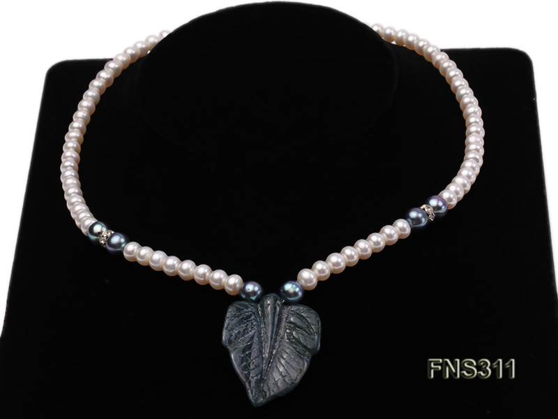 6-7mm natural white round freshwater pearl with breciated jasper stone single strand necklace big Image 1