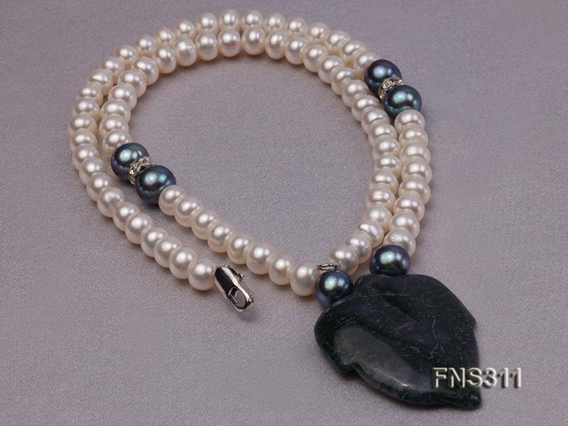 6-7mm natural white round freshwater pearl with breciated jasper stone single strand necklace big Image 2