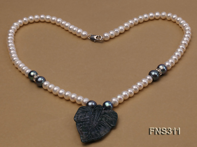 6-7mm natural white round freshwater pearl with breciated jasper stone single strand necklace big Image 3