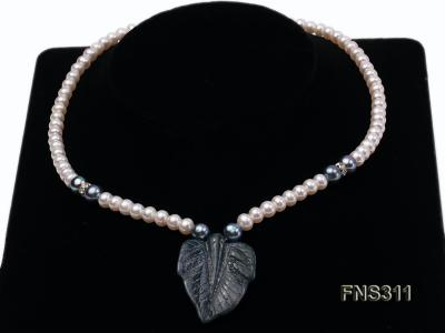 6-7mm natural white round freshwater pearl with breciated jasper stone single strand necklace FNS311 Image 1