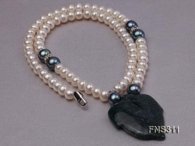 6-7mm natural white round freshwater pearl with breciated jasper stone single strand necklace FNS311 Image 2