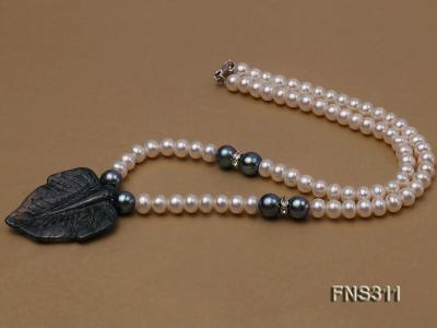 6-7mm natural white round freshwater pearl with breciated jasper stone single strand necklace FNS311 Image 4