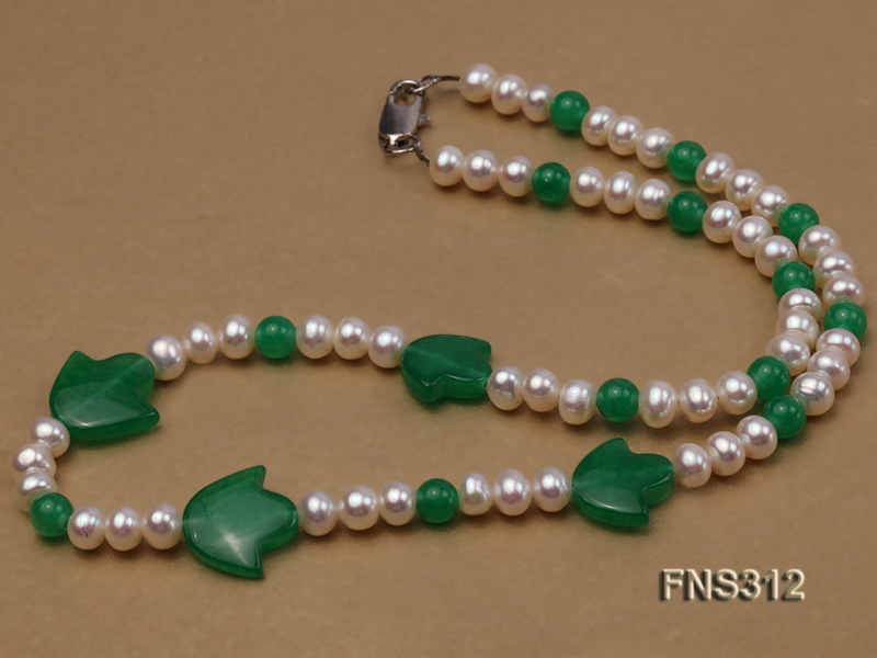 6mm natural white freshwater pearl with natural jade single strand necklace big Image 2