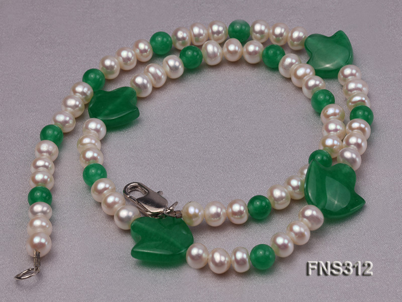 6mm natural white freshwater pearl with natural jade single strand necklace big Image 3