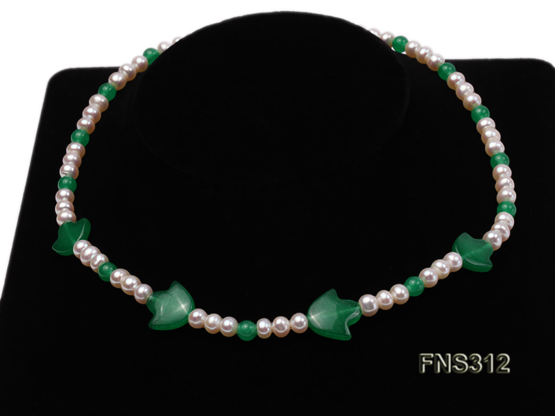 6mm natural white freshwater pearl with natural jade single strand necklace big Image 4