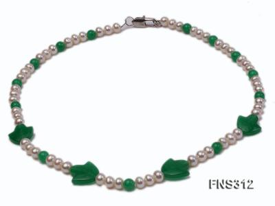6mm natural white freshwater pearl with natural jade single strand necklace FNS312 Image 1