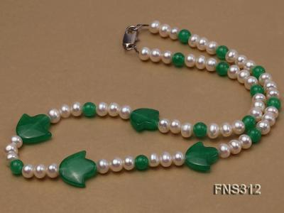 6mm natural white freshwater pearl with natural jade single strand necklace FNS312 Image 2