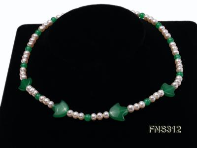 6mm natural white freshwater pearl with natural jade single strand necklace FNS312 Image 4